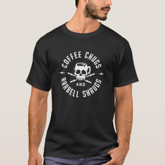 Tshirt Chugs do café e encolhos de ombros do Barbell