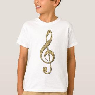 Tshirt Clef de triplo do metal do ouro