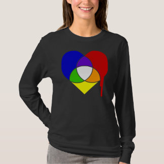 Tshirt coração da escala de cores