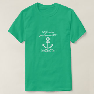 Tshirt Cruzeiro da família com âncora e ondas