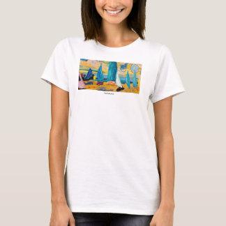 Tshirt da praia da água do oceano das mulheres