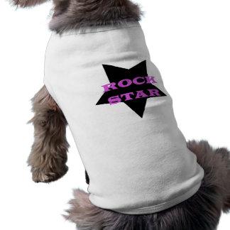 Tshirt do cão da estrela do rock camisa sem mangas para cachorro