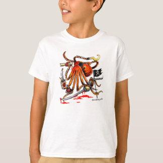 Tshirt do polvo do pirata para meninos
