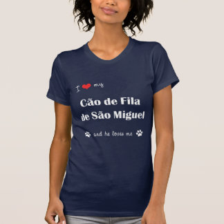 Tshirt Eu amo meu Sao Miguel de Cao de Filamento de (o