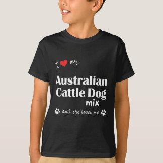 Tshirt Eu amo minha mistura australiana do cão do gado (o