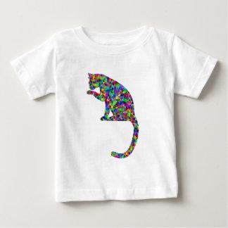 Tshirt Gato prismático colorido que lambe a pata
