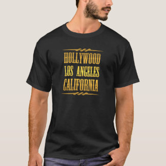 Tshirt Hollywood dourado Los Angeles Califórnia