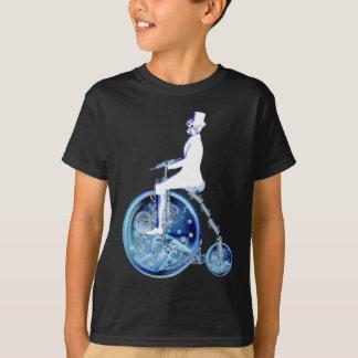 Tshirt Homem de Steampunk no néon branco azul do farthing
