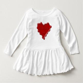 Tshirt Kimberly. Selo vermelho da cera do coração com