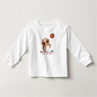 Tshirt longo da luva da criança da coruja do bebê
