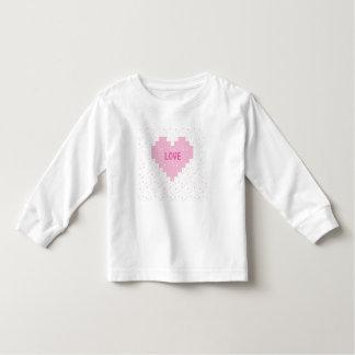 Tshirt longo da luva das crianças com coração