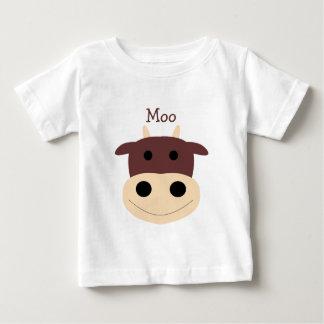 Tshirt marrom pequeno bonito da criança da vaca