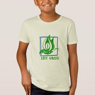 Tshirt orgânico azul da borboleta verde viva