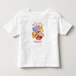 Tshirt Os miúdos do segundo aniversário dos animais do