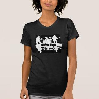 Tshirt preto do escurecimento das mulheres