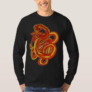 Tshirt preto do longsleeve do dragão