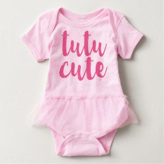 Tshirt Romper bonito do tutu do bebé do tutu cor-de-rosa