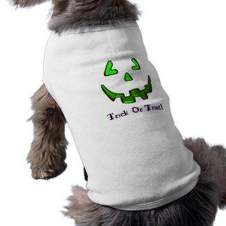 Tshirt verde do Doggy da cara da abóbora Camisa Sem Mangas Para Cachorro