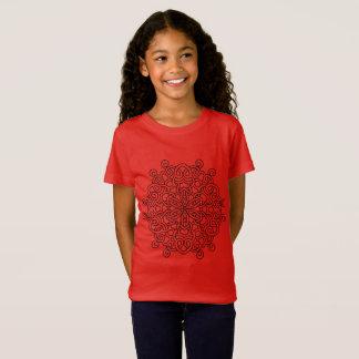 Tshirt vermelho com mandala preta