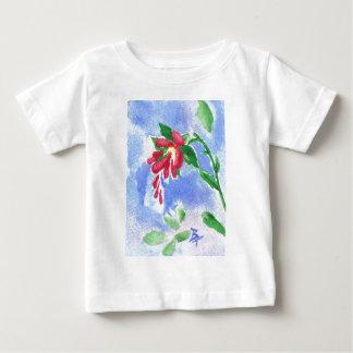 Tshirt vermelho da criança do aceo da flor do amor