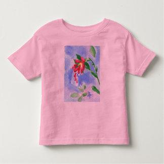 Tshirt vermelho das meninas do aceo da flor do