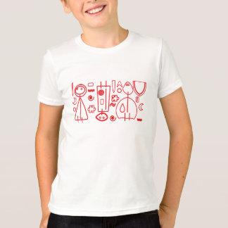 TShirt vermelho do design das crianças do