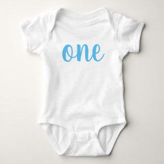 Tshirts Azul do Bodysuit do bebê do primeiro aniversario