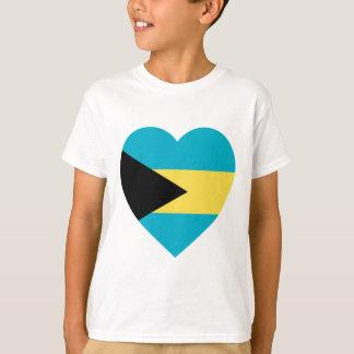 Tshirts Coração da bandeira de Bahamas