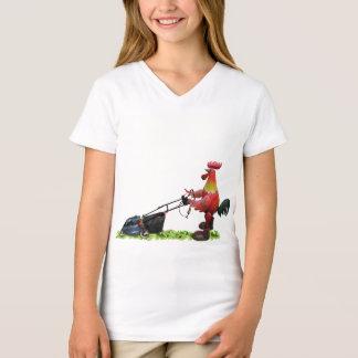 Tshirts Galo vermelho com um lawnmower que veste botas do