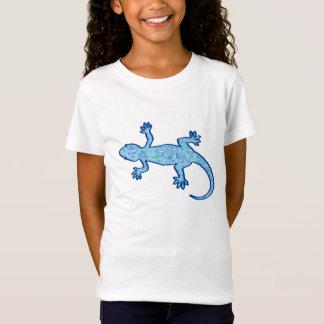 Tshirts Geco tribal do batik - azul macio da sarja de