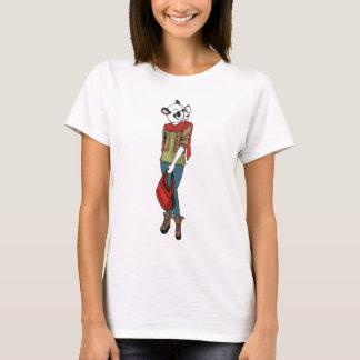 Tshirts Menina legal do hipster com cabeça da panda
