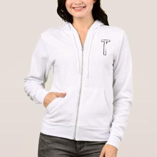"""Tshirts O hoody branco das mulheres gravadas de """"T"""""""