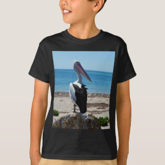 Tshirts Pelicano na rocha da praia,