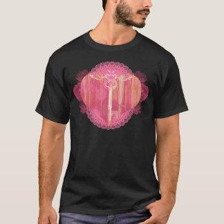 Tshirts Porta dada forma coração com chave de esqueleto
