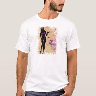Tshirts Silhueta violeta 2 da menina do biquini do Grunge