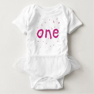 Tshirts Tutu um do aniversário do brilho do rosa do bebé