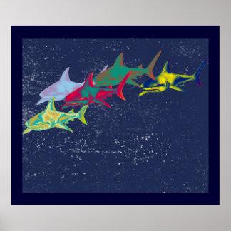 tubarões decorativos para paredes pôsteres
