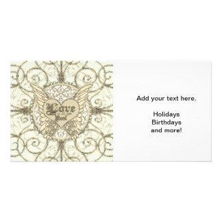 Tudo que você precisa é amor com asas & coração do cartão com foto