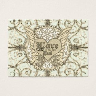 Tudo que você precisa é amor com asas & coração do cartão de visitas