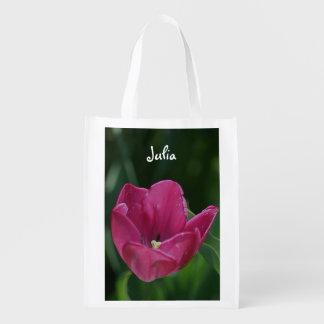 Tulipa cor-de-rosa saco reusável personalizado sacolas reusáveis