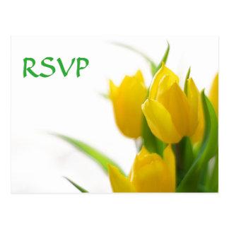 Tulipas amarelas - cartão de RSVP