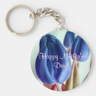 Tulipas azuis do dia das mães feliz chaveiro