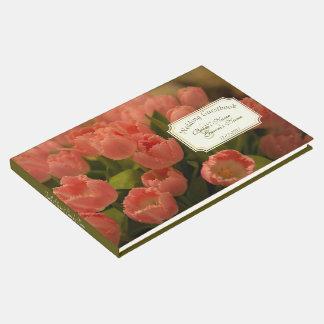 Tulipas do pêssego & Guestbook verde do casamento Livro De Visitas