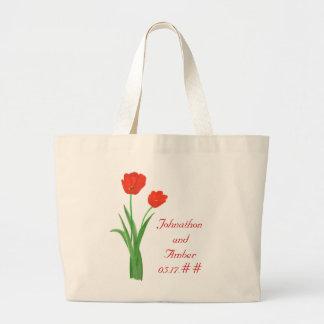 Tulipas vermelhas sacolas Wedding Bolsas De Lona
