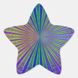 Túnel azul do Fractal do abstrato do roxo do verde Adesito Estrela