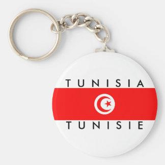 tunisie do símbolo do texto do nome da bandeira de chaveiro
