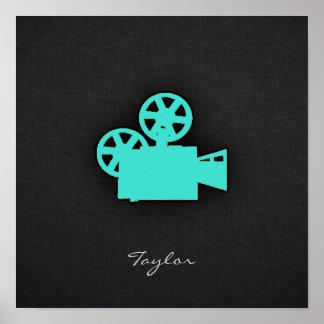 Turquesa; Câmera de filme do verde azul Poster
