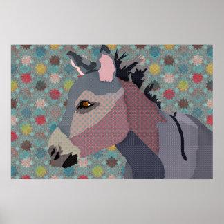 Turquesa da zebra do vintage & arte cor-de-rosa posters