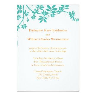 Turquesa e convites alaranjados do casamento