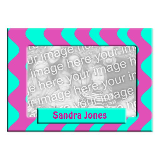 Turquesa e quadro cor-de-rosa da foto cartões de visitas